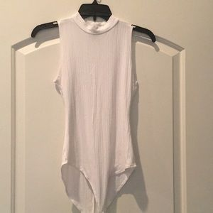 Mock Neck Sleeveless Ribbed Bodysuit